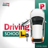 Driving School. The white car on the green parking invites to be trained in driving school Stock Photography
