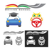Driving schools. Icon set on learning to drive a car Royalty Free Stock Photos