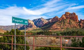 Driving By Sedona Milemarker royalty free stock photo