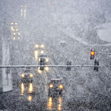 Driving in Severe Snow Storm Royalty Free Stock Photos