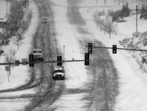 Driving in Severe Snow Storm Traffic Lights Royalty Free Stock Photography
