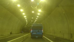 Driving shot. The drive through tunnel. BRNO, THE CZECH REPUBLIC - AUGUST 23, 2017: Driving shot. The drive through tunnel stock footage