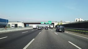 Driving shot, driver point of view. Driving on the motorway A4 from Milano to Bergamo in Italy stock video
