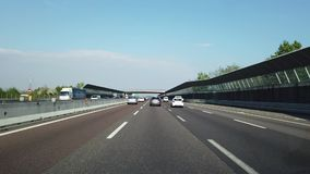 Driving shot, driver point of view. Driving on the motorway A4 from Milano to Bergamo in Italy stock footage