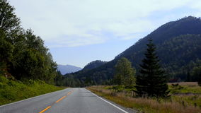 Driving shot on an empty road in Norway stock video footage