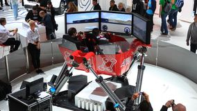 Driving simulator at the IAA 2015 stock video footage