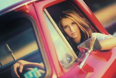 Driving sixties Royalty Free Stock Photo