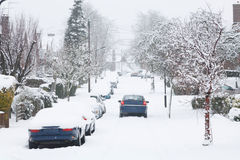 Driving in snow. Dangerous driving conditions after snowfall in Pinner, UK Royalty Free Stock Photo
