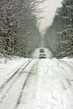 Driving in the snow on a countryroad Stock Image