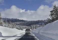 Driving in snow forest Royalty Free Stock Images