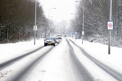 Driving in the snow in the Netherlands Stock Photography