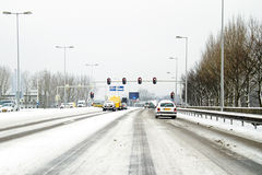 Driving in the snow in the Netherlands Royalty Free Stock Photo
