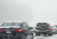 Driving in snow Stock Photography