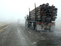 Driving in Snow Storm Royalty Free Stock Photography