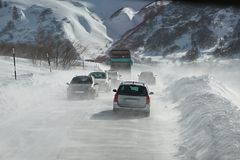 Driving in snow storm Stock Photos