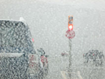Driving in a Snow Storm Stock Images