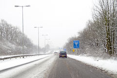 Driving in a snowstorm in Amsterdam Netherlands Royalty Free Stock Image
