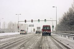 Driving during a snowstorm in the Netherlands Stock Photography