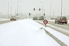 Driving during a snowstorm in the Netherlands Royalty Free Stock Images