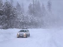 Driving in snowstorm. Stock Photography