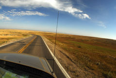 Driving in south dakota. Pov from car driving in south dakota Stock Photos