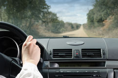 Driving in straight road Stock Photos
