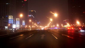 Driving street at night of Beijing, China. Driving along famous East Changan Avenue at night in Beijing, China stock video