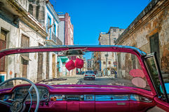 Driving in the streets of Havana stock photo