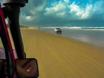 Driving the stunning beaches of Fraser Island, Australia royalty free stock photos