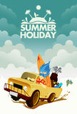 Driving Through Summer Holiday. Poster Stock Images