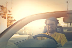 Driving into the sunset royalty free stock photo