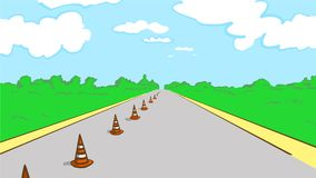 Cartoon driving test road with cones. Driving test road with cones. Cauntry road. Cartoon color vector sketch Royalty Free Stock Image
