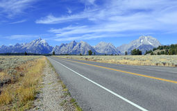 Driving in the Teton Range, Rocky Mountains, Wyoming, USA Stock Images