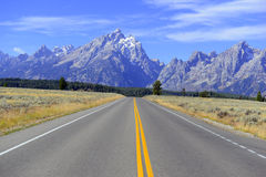 Driving in the Teton Range, Rocky Mountains, Wyoming, USA Stock Photo