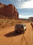 Driving thru Monument valley. Driving on a dirt road thru Monument valley Stock Photography