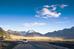Driving in the Tibetan Plateau Stock Images