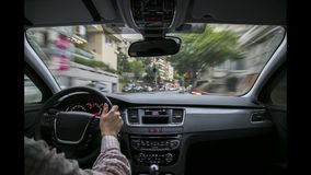 Driving time lapse in the car on Istanbul Streets stock video footage