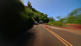 Driving Time Lapse In Kauai. Driving time lapse clip in beautiful Kauai along coast stock video footage