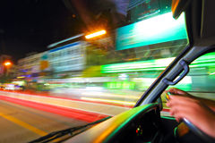 Driving time night in Huahin Stock Photo