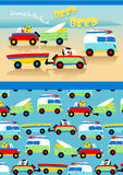 Driving to the beach. Vector illustration of cute vehicles at the beach with a matching repeat pattern Royalty Free Stock Photo