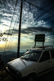 Driving to different places. A beautiful side view Stock Photo