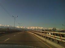 Way to Khan Tengri mountains. royalty free stock images