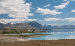 Driving to Mt Cook. Lake Tekapo Stock Photos