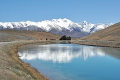 Driving to Mt Cook. Mackenzie Country Stock Photos