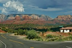 Driving to red rock sedona stock images