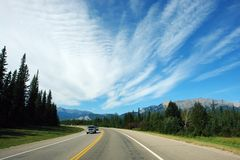 Driving to rockies royalty free stock photography