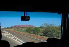 Driving to Uluru. Northern Territory, Australia Stock Photos