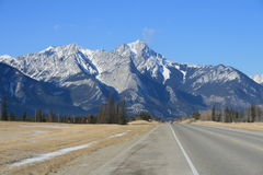 Driving to the west. Jasper national park, alberta, canada, good sunny weather, highway to vancouver from edmonton Royalty Free Stock Images