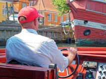 An driving touristic motorboat Copenhagen Royalty Free Stock Photos