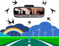 Driving toward the future. Driving towards a clean future; leaving behind nuclear power Royalty Free Stock Photography